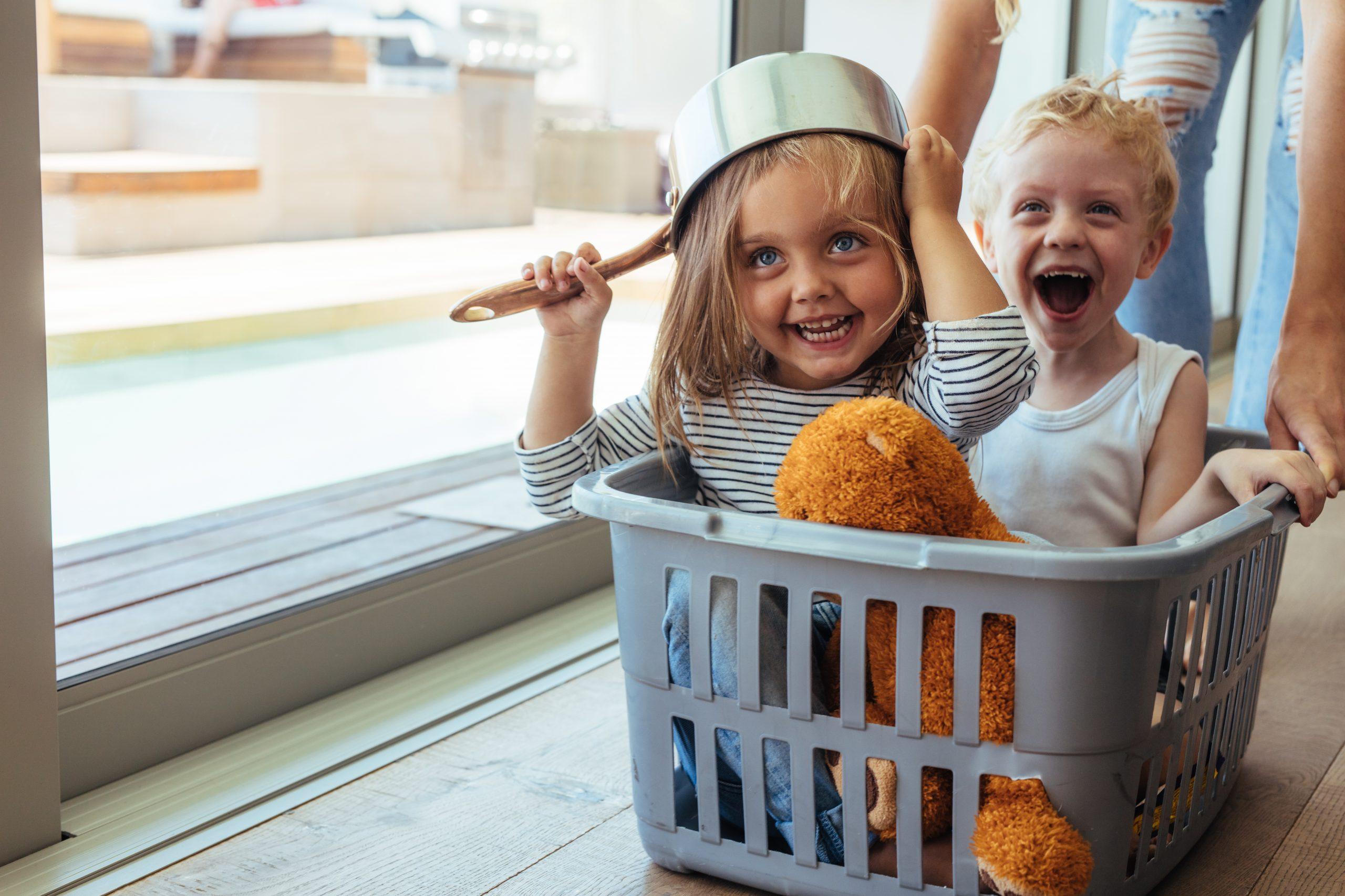 Kids at home having fun